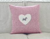 Scottish Terrier Pillow Cover - Scotty Dog Cushion - Pale red tones with black dog & red bow detail