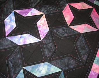 Quilted Table Topper Hand Dyed Fabric and Black