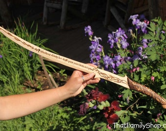 Girls Wooden Sword Arwen's Lord of the Rings Hadhafang Replica Costume Prop Burned Elvish All Natural