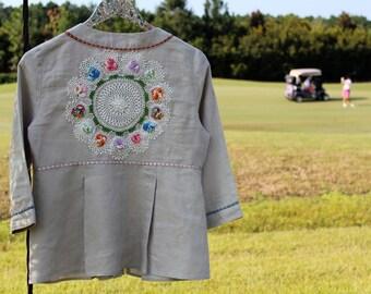 Izzy Roo Romantic Boho Blossom Jacket  Mori Girl Shabby Chic Sage Linen Magical Details Unique Clothing