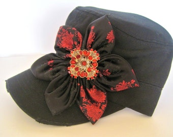 Black or Red Cadet  Military Distressed  Army Petal Hat with Black and Red Satin  Petal Flower and a Matching Red Rhinestone Brooch Accent