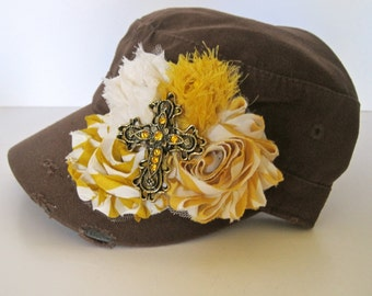 Sale...Brown Military Distressed Cadet Army Hat with Mustard Yellow Shabby Chiffon Flowers and Gorgeous Amber Rhinestone Cross Pendant