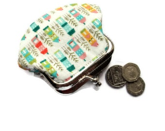 Small Framed Fabric Coin Purse -Little Houses In A Row Fabric - Kiss Clasp Frame- UK Seller