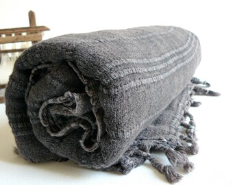 Turkish Towel Peshtemal towel Cotton Peshtemal Stone washed Black Towel