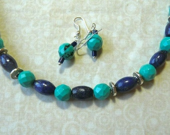19 Inch Faceted Natural Blue Turquoise and Lapis Necklace with Earrings