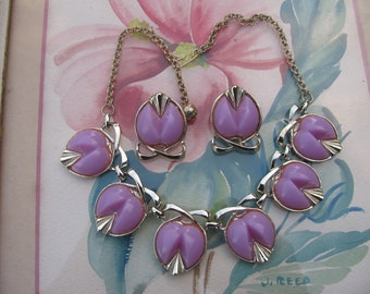 Vintage Silver Tone Lavender Plastic Thermoset Link Necklace-Earrings