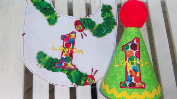 Very Hungry Caterpillar Party Hat - Boys Party Hat and Matching Bib - Cake Smash Bib - Personalized - Photo Prop