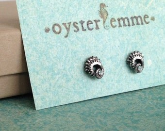 Tiny Tentacle Earrings, Oxidized Sterling Silver with Crystal Swarovski
