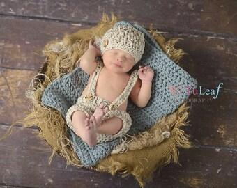 Newborn Hat and Short Pants Oatmeal Tweed Suspenders Set Crochet Photo Prop