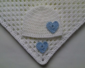 Crochet Baby Blanket and Baby Hat Set Gift Christening Baptism Girl baby blue white hearts beanie afghan
