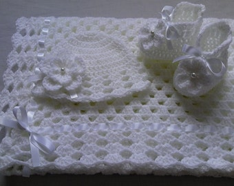 Crochet Baby Blanket, Hat and  Booties Set gift christening baptism baby white afghan baby shower