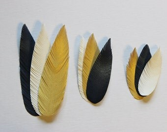 Set of 27- Hand Cut Paper Feathers - Any Colors