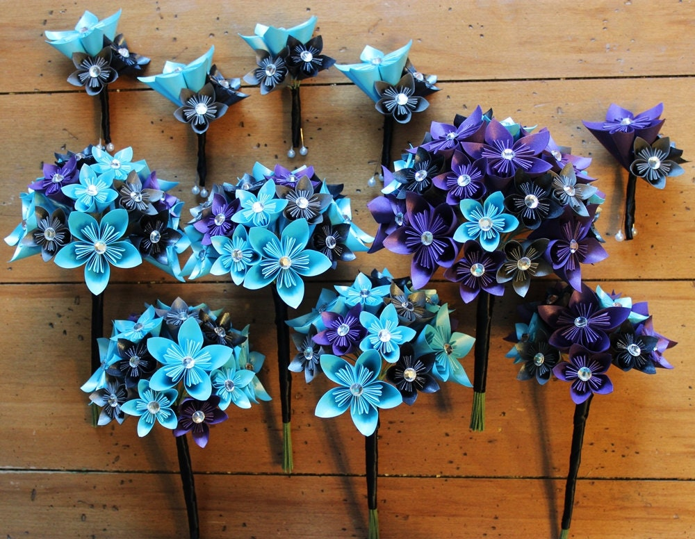 Wedding Party Set Paper Flower Bouquets And Boutonnierres