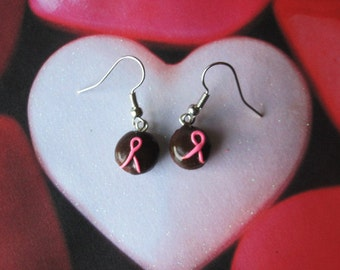 Pink Awareness Ribbon Chocolate Cupcake Earrings Polymer Clay Jewelry Breast Cancer Survivors Remembrance Fight Free Shipping USA