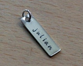 Custom Personalized Hand Stamped Name Tag Rectangle Pendant Charm Add On - Stamp Both Sides