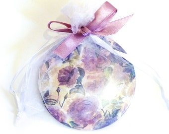 Pocket Mirror Floral. Lilac and Blue Hand Painted Rose Design. Wedding Favour. Bridesmaid. Mothers Day Gift. Girls. Fashion. Country living