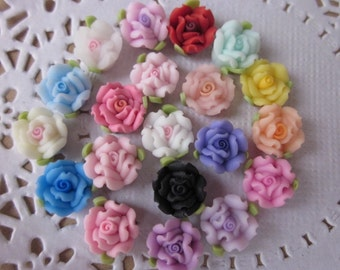 20 pcs 10 mm Mixed Color Polymer Clay Flower Beads, FIMO rose Pendant, Charm craft jewelry, Necklaces Earrings Bracelet Accessories