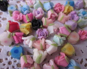 30 pcs 8 mm Mixed Color Polymer Clay Flower Beads FIMO Pendant Charm craft jewelry Necklaces Earrings Bracelet Accessories by sunshinepark99