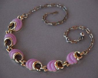 Vintage Thermoset Necklace Choker Lilac Plastic Links Gold Tone Collar Bib Necklace Adjustable Mid Century 1960's // Vintage Costume Jewelry