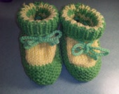 Baby Boy or  Girl Booties Green Yellow Sale  Knitted Soft Handmade Baby Shower  6-9 Months Ready to Ship