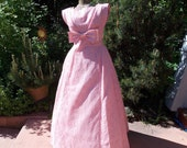 Vintage 1960's Emma Domb Pink Lace Gown Satin Bow Prom Party Dress Size 12 Retro New Look Style Evening Gown