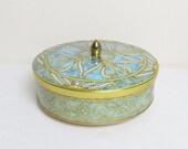 Vintage 1960's Candy Tin / Aqua Confection Tin Can