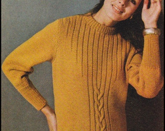"No.114 Knitting Pattern PDF Vintage Women's Twisted Pullover Cable Sweater - Instant Download - Finished Bust Sizes 37.5"", 41.5"", 45.5"""