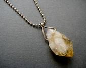 Trinitized- Raw Citrine or Amethyst Quartz Crystal Point Triangle Pendant Unisex Necklace- Mens Jewelry