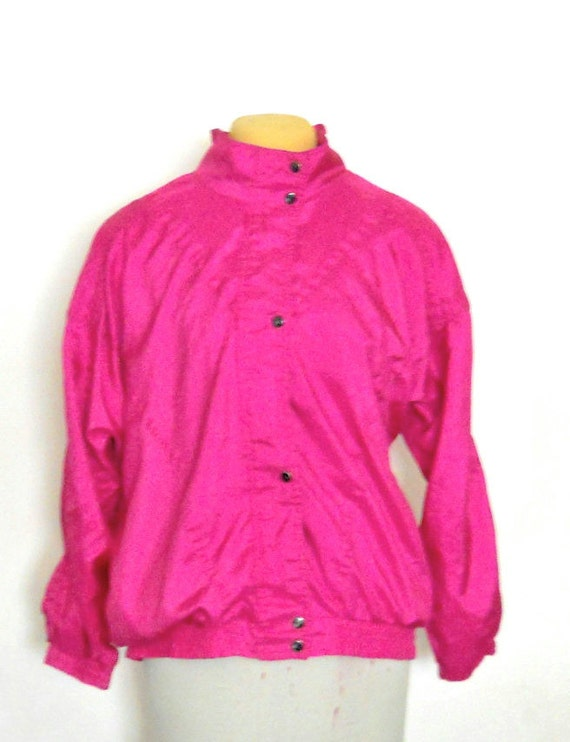 80s Windbreaker Jacket Plus Size Jacket Hot Pink Jacket 90s Windbreak Neon Windbreaker 80s 90s Jacket Lightweight Jacket Plus Size clothing