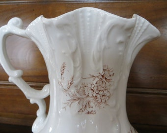 Vintage Pitcher, Brown Transfer Ware on White Pitcher, Vintage Transfer Ware Pitcher