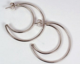 Crescent  Hoop Post Earrings, Sterling Silver, Made to Order
