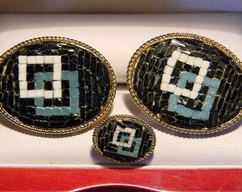 RARE Original Vintage SWANK Italian Mini-Mosaic Cufflink Set