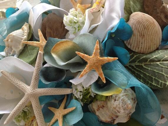 Bois flott et coquillage turquoise et blanc bouquet de mari e for Bouquet bois flotte