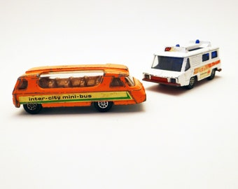 Vintage Toys Ambulance and Inter City Bus