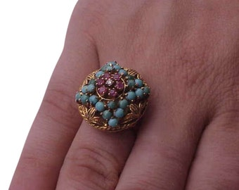 Incredible works of Art,  Victorian 750(18k)  Yellow  Gold  Genuine Diamond ,Ruby's   and Turquoise  Ring ,1800's