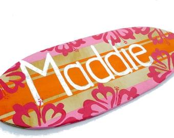 Girls Surf Decor, Surfer Wall Art, Surfboard Art, Beach Themed Decor 18 inch