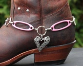 Boot Charm made with Silvertone Heart , Pink metal connectors and a Chunky Chain.