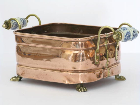 Lovely French  Square Copper Jardiniere for indoor use (3090)