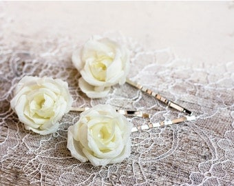 71_Flower hair pin, Ivory wedding, Hair Clip, Floral hair pin, Bridesmaid flower hair pin, Bridal flower hair pin Ivory flower hair pin Rose