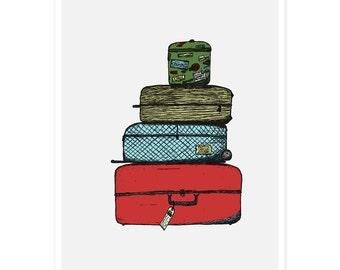 Luggage Art Print - Travel Print, Suitcase Print, Illustrated Print, Kids Room Decor, Nursery Art, Cute Illustration, Childrens Art, 5 x 7