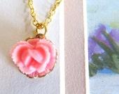 CLOSE OUT SALE La petite Cabbage Rose Necklace-24k gold plated connectors-