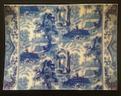 Dollhouse Miniature Classic Blue and White Toile Rug, Scale One Inch