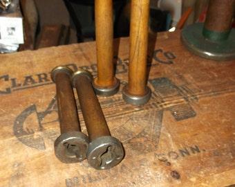 Four Vintage Wooden Textile Spools - Vintage Industrial
