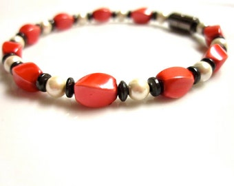 Magnetic Hematite Bracelet, Red Pearl Magnetic Bracelet