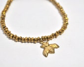 Gold Nugget Beaded Stretch Bracelet with Brass Bumble Bee Charm