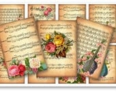 Digital Collage Sheet Download - Music Sheet with Roses Tags -  65  - Digital Paper - Instant Download Printables