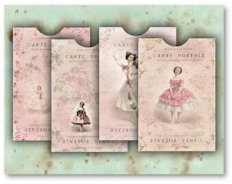 Digital Collage Sheet Download - Ballerina Pink Envelopes -  526  - Digital Paper - Instant Download Printables