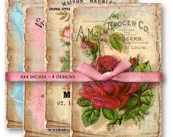 Digital Collage Sheet Download - Vintage Typography Roses -  859  - Digital Paper - Instant Download Printables