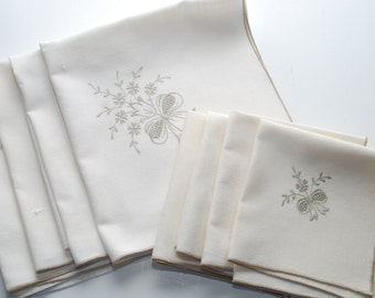 Vintage Ivory and Taupe Embroideered Linen Napkins Set of Eight