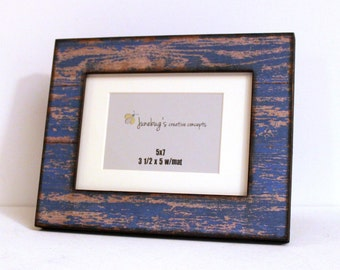 5x7 Photo Frame Weathered Rustic Blue Paint Wood